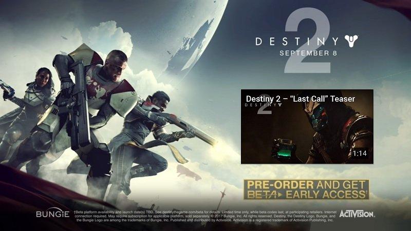 Destiny 2 Trailer + Beta Access