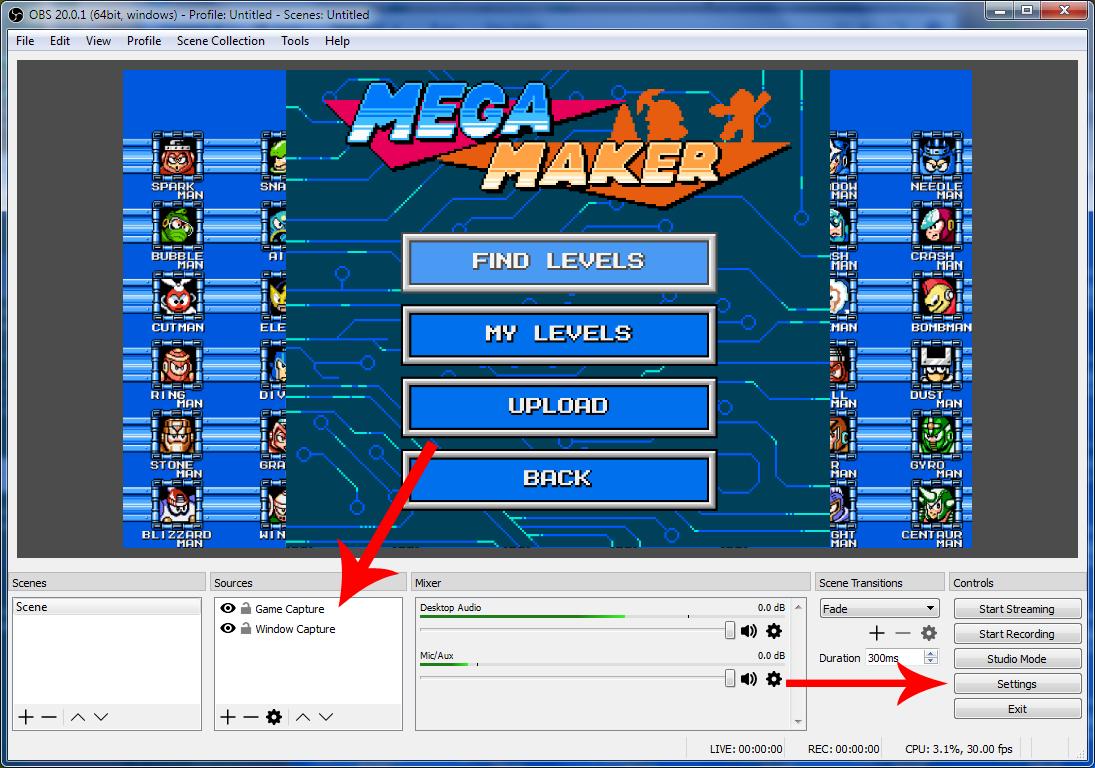 como hacer streaming, opciones generales en la pantalla principal de OBS