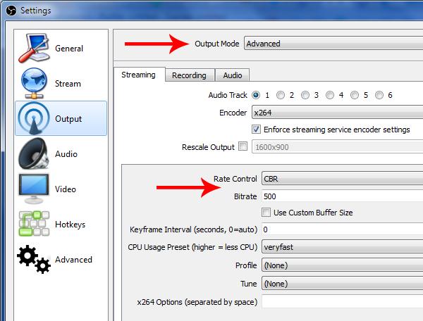 como hacer streaming, configurando el flujo de video