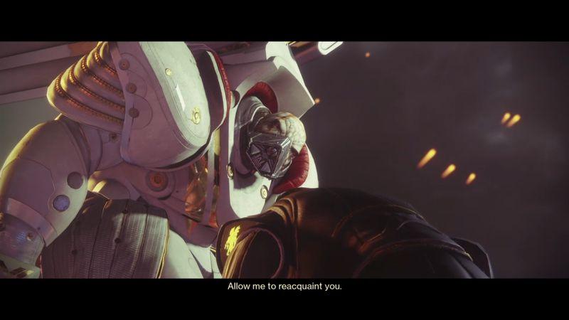 Imagen de Ghaul en Destiny 2, junto a un Guardian