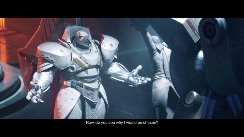 Imagen de Dominus Ghaul con the Speaker, como cautivo, en Destiny 2