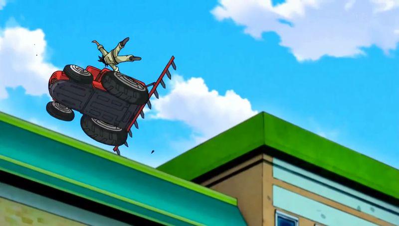 Mr. Satan manda a volar a Goku, literalmente.