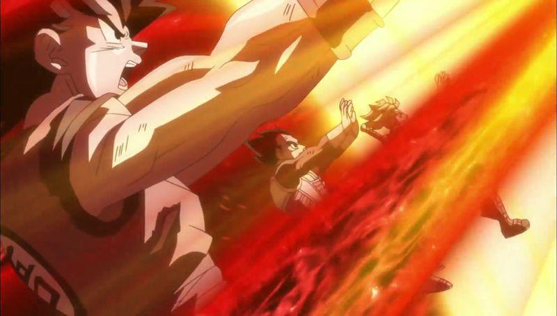 Goku, Vegeta y Trunks repeliendo un ataque de Zamas en Dragon Ball Super.