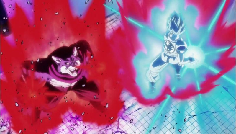 Bergamo contra Goku, demostrando su poder