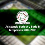 Asistencia de la Liga Premier, Serie A y Serie B - Temporada 2017-2018