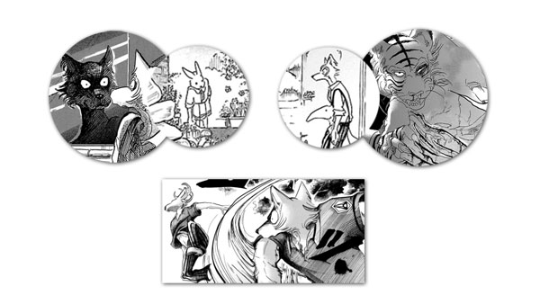 Beastars, mostrando en la imagen a Legoshi, Haru, Bill y Louis
